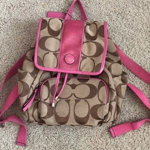 Coach Brown and Pink signature backpack